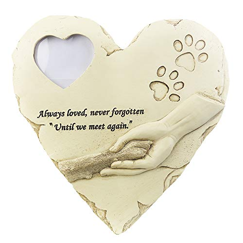 (JHP Dog Memorial Stones, Hand-Printed Heart Shaped pet Memorial Gifts Embellished with Sympathy Poem & paw in Hand Design, Meaningful Loss of pet Gift for Outdoor (White-Photo Frame))