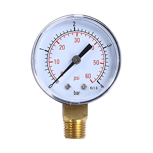 Awakingdemi Water Pressure Gauge, Stainless Air Pressure Gauge, Pool Spa Filter Water Pressure Gauge for Reverse Osmosis System (Chrome Water Temperature Gauge)