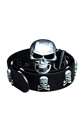ByTheR Men's Fashion Chic Black Leather Metal Skull Studded Belt ()