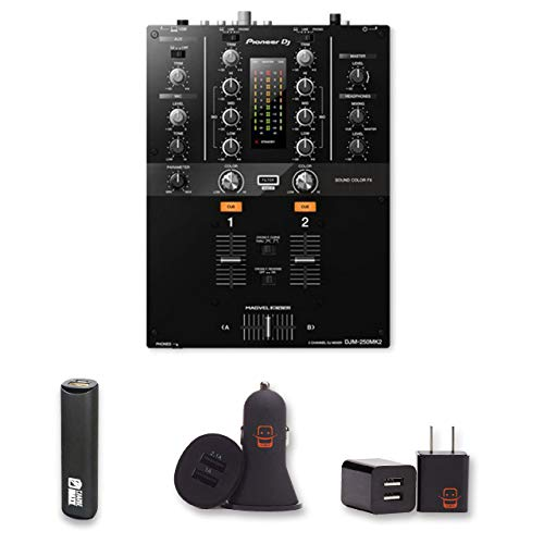 Pioneer DJ DJM-250MK2 Mixer with 2 Year Warranty + PowerBank + USB Car Charger + USB Wall Charger