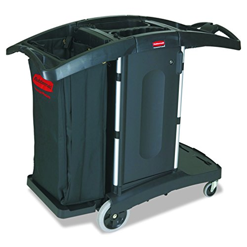 Rubbermaid Commercial Executive Series Compact Folding Housekeeping Cart, Black, (Black Plastic Janitor Broom)