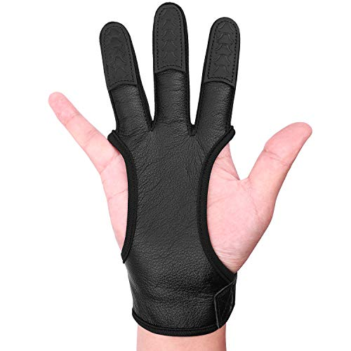 FitsT4 Leather Archery Gloves Three Finger Hand Guard Protective Glove Safety Archery Shooting Gloves Black L (Best Archery Shooting Glove)