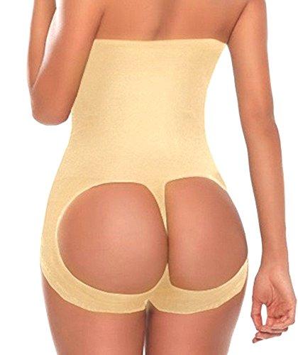 SHAPERQUEEN 203 Waist Cincher Girdle Belly Slimmer Trainer Sexy Brief Shapewear Butt Lifter (S, Nude)