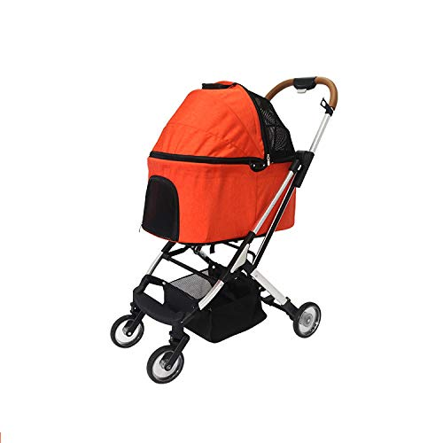 HWUKONG Pet stroller cat dog, foldable, zipper entry, detachable liner pet equipment with storage basket, strong and stable load-bearing 20kg, pet dog cat animal cart