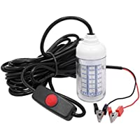 CHOUREN 12V 15W Underwater Fishing Attract Light LED Lamp Fish Finding System Light with 30ft Power Cord and Battery…
