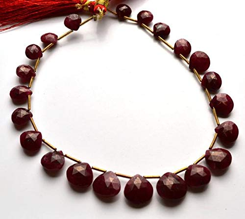 GemAbyss Beads Gemstone 1 Strand Natural 9.5 Inch Strand,Superb-Finest Quality AAA Quality Dyed Ruby Faceted Heart Shape Briolettes, 8-11 MM Code-MVG-28985