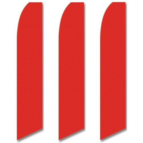 - 3 (three) Pack Tall Swooper Flags Bright Candy Red Solid Plain Color