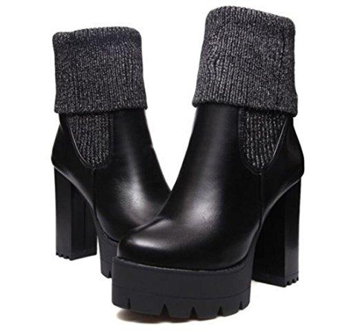 Black En Femme Pour à Cuir Talons Chaussures LINYI Hauts xgqfOBw