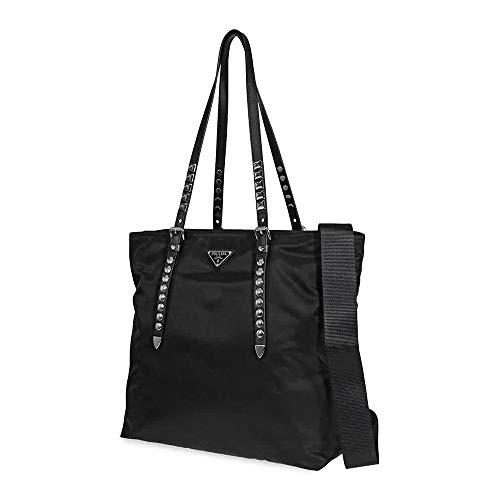 Prada Black Nylon Tote with Studded Black Leather Handles