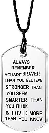 lauhonmin Always Remember You are Braver/Stronger/Smarter Than You Think Pendant Necklace Family Friend Gift U
