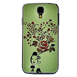 Girl and Flowers Pattern Hard Case with Rhinestone for Samsung Galaxy S4 I9500