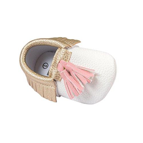 Saingace® Rastejando Sapatos, 0 ~ 18 Meses, Criança -baby-girl-borla Suaves Únicos Sapatos Prewalker Branco