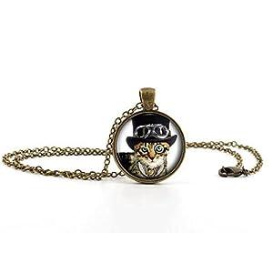 ILJILU Cool Cat Picture Pendant Necklace – Steampunk Funny Glass Kitten Kitty Jewellery