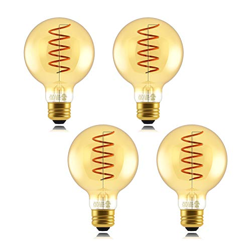 Helloify G25 Dimmable LED Flexible Spiral Filament Edison Bulbs Vintage Amber Glass Reading/Bedroom/Bar Lighting, 40W Equivalent, E26 Screw Base, Warm White 2000K, 4 Pack