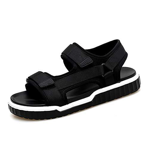 Noir 44 EU Hetai pour Les Hommes Sandales de Mode décontracté Commode Crochet et Boucle Doux légères Chaussures de Plage Semelle extérieure
