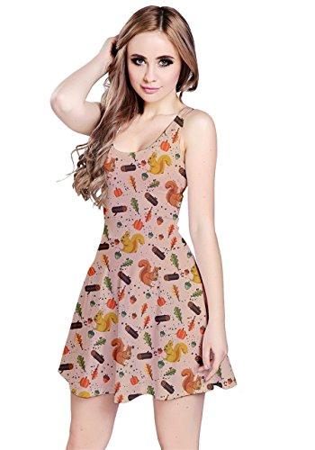 Woodland Owls XS Squirrel Dress Thanksgiving Autumn Animals Beige Leaves CowCow 5XL Womens Sleeveless UWtqRwax6