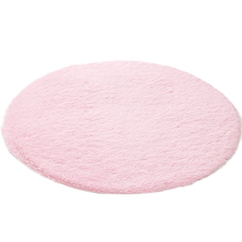 qianle round area rugs super soft livingroom bedroom home shag carpet pink