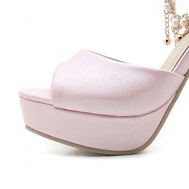LvYuan Mujer-Tacón Robusto-Confort Innovador-Sandalias-Oficina y Trabajo Informal Fiesta y Noche-Sintético Semicuero PU-Azul Rosa Morado Blanco Pink