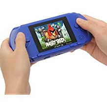 Huntmic PXP3 Slim Handheld Game Console 16 Bit Portable Video Game Player with Two Cartidiges Built in 100+ Games -Blue