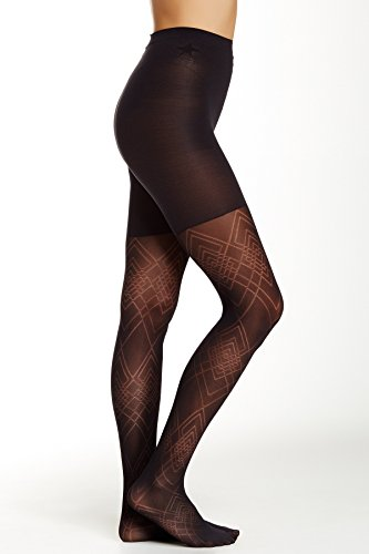 Star Power by SPANX Diamond Daze Patterned Shaping Tights Black Size C