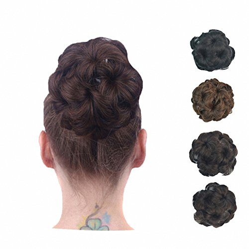 PrettyWit Bridal Ponytail Extension Scrunchie with Claw Tray Ponytail Hair Accessories Updo Hairpiece Ponytail Hair Extensions Wavy Curly Messy Hair Bun Chignons Hair Piece Wig for Women(Black 2)
