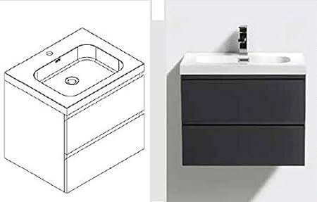 Ensemble meubles de salle de bain Noir avec lavabo Blanc ...