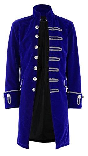 Darkrock Renaissance Mens Velvet Goth Steampunk Victorian Frock Coat (Medium, - Blue Steampunk