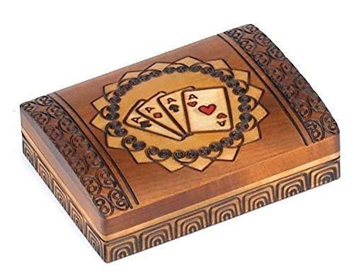 (Double Deck Playing Card Box Polish Handmade Wood Keepsake Box)