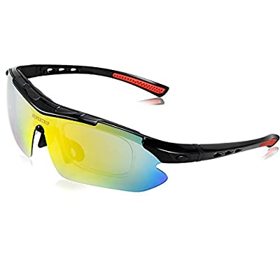 Supertrip Polarized Sports Sunglasses Cycling Glasses with 5 Interchangeable Lenses