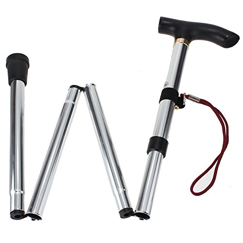 Healthcom Walking Canes Walking Stick Aluminum Alloy Folding Cane Adjustable Collapsible Canes, Lightweight(Silver)