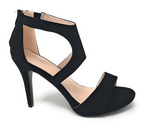 Albert Width Peep Black Heeled Wide Dressy Sandals Charles Toe Women's High FwdUtRRqO