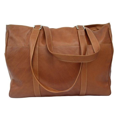 Piel Leather Large Shopping Bag, Saddle, One Size by Piel Leather