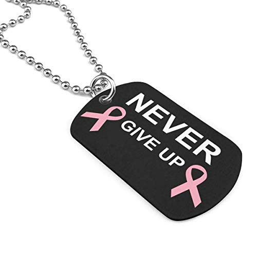 Never Give Up Breast Cancer Pet ID Tags Personalized Double Sided Alloy Dog Tag Novelty Unique Christmas Birthday Gifts for Pet Lovers(Custom Number,Name,Address) Breast Cancer Dog Tag