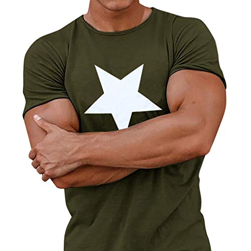 (TOPUNDER Men Casual Spring Summer Star Print Short Sleeve O-Neck Tops Blouse T-Shirts Army Green)
