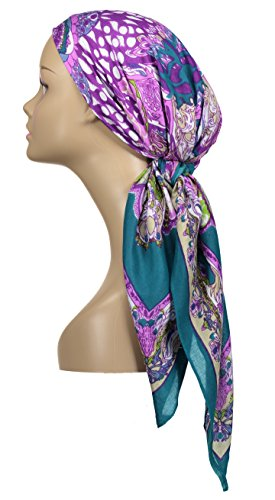 Large Head Wrap Scarf - Turquoise - 100% Viscose - By - Head Big Woman