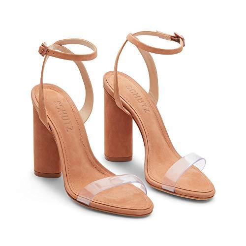 SCHUTZ Women's GEISY Heeled Sandal, Toasted nut, 9.5 M US