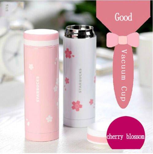 LARARHEE-Pink White Sakura Vacuum Bottle Insulation Stainless Steel Thermos Flask Cup Mug