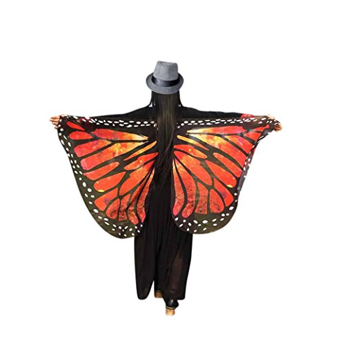 FORESTIME Women Girls Fabric Butterfly Wings Shawl Fairy Ladies Nymph Pixie Costume Accessory (red, one)