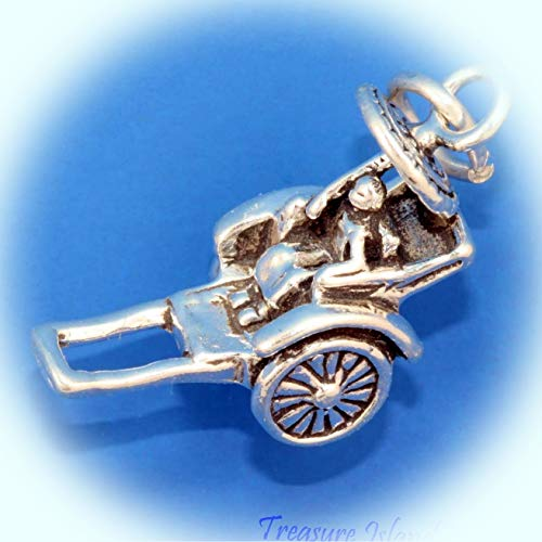 Pulled Rickshaw Japan China Asian Asia 3D .925 Solid Sterling Silver Charm Vintage Crafting Pendant Jewelry Making Supplies - DIY for Necklace Bracelet Accessories by CharmingSS from CharmingStuffS