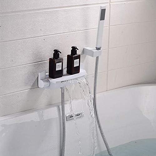 浴室および浴槽の浴槽の蛇口の2つのハンドルの滝の温水と冷水の水栓付きバスシャワー水栓-白い