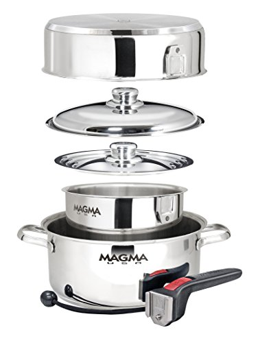 - Magma Products, A10-362 7 Piece Gourmet Nesting Stainless Steel Cookware Set