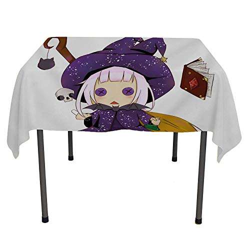 Halloween Cute Cartoon Little Purple Witch Multicolor Christmas Tablecloth Polyester tablecloths Rectangle Tablecloth 60 by 84 inch