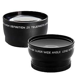 Canon EOS Rebel T6 Digital SLR Camera + Canon 18-55mm EF-S f/3.5-5.6 IS II Lens & EF 75-300mm f/4-5.6 III Lens + Wide Angle Lens + 58mm 2x Lens + Slave Flash + 64GB Card + Wired Remote + Valued Bundle