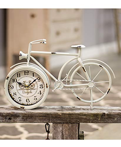 Hearthside Collection Bicycle Desk Clock - Classic Vintage Retro Old Fashioned Decorative Metal Antique Bicycle Desk Clock for Your Home décor. Antique White Finish, Battery Operated and Easy to Read