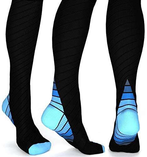 Pearl Brand Premium Compression Socks for Men & Women, Support Circulation, Best Athletic Socks (Blue -