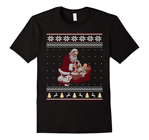 Mens Santa Claus And Baby Jesus In The Manger Christmas T-Shirt Medium Black