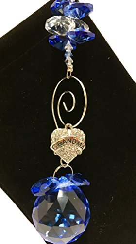 Grandma Gift - Blue Suncatcher with Dangling Crystal Heart with Grandma in Center - Mothers Day, Grandmothers, Birthday, Get Well Sun Catcher