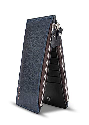 - Women/Men Cell Phone Wallet Purse Bag Leather Credit Card Holder Clutch Handbag (Navy)