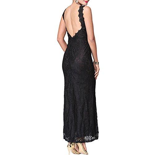 Meijunter Kleider Damen Elegant VAusschnitt Lace ALinie Kleid ...