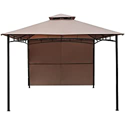 Le Papillon 10' x 10' Gazebo Folding Party Tent with Side Wall Privacy Panel, Beige